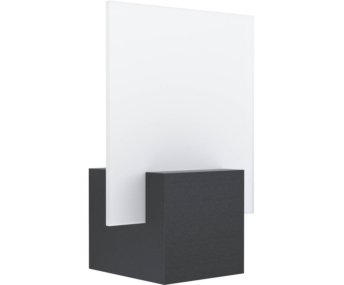 Outdoor LED wandlamp Adamello, Aluminium, gesatineerd glas, Zwart, wit, 20 x 28 cm