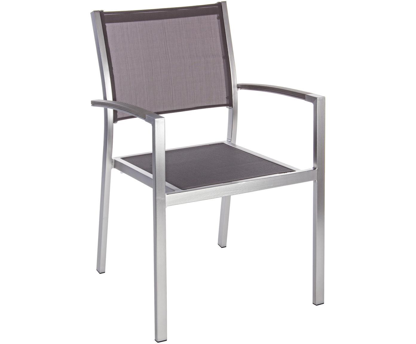 Krzesło ogrodowe z podłokietnikami do układania w stos Irwin, Stelaż: aluminium, satynowe wykoń, Srebrny, szary, S 54 x G 57 cm