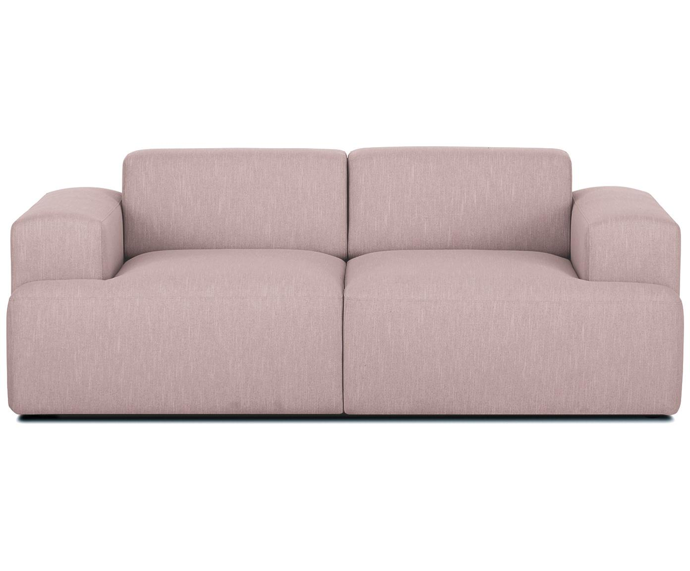 Bank Melva (2-zits), Bekleding: polyester, Frame: massief grenenhout, spaan, Poten: grenenhout, Geweven stof roze, B 200 x D 101 cm