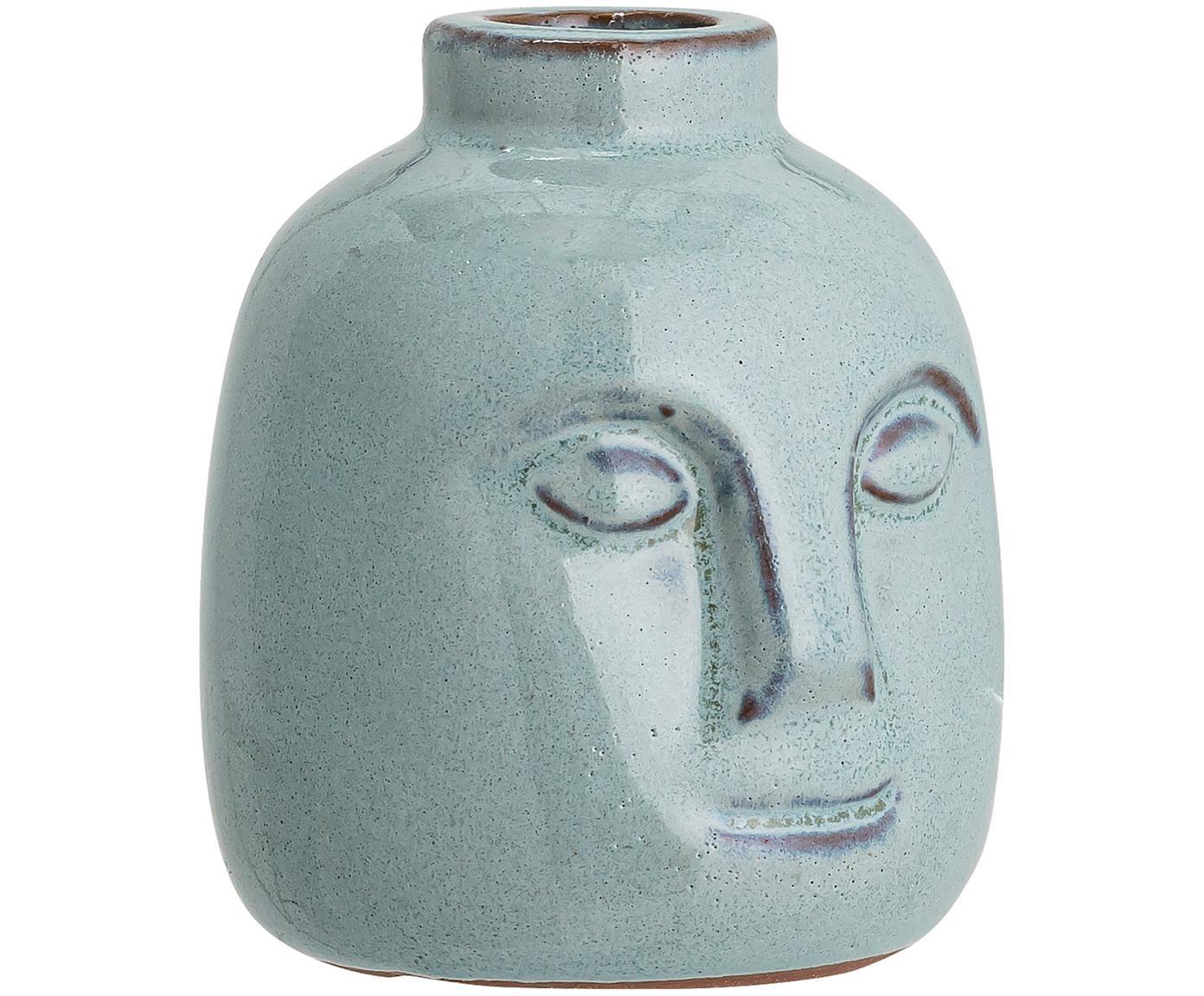 Candelabro artesanal Brit, Gres, Azul, Ø 9 x Al 9 cm