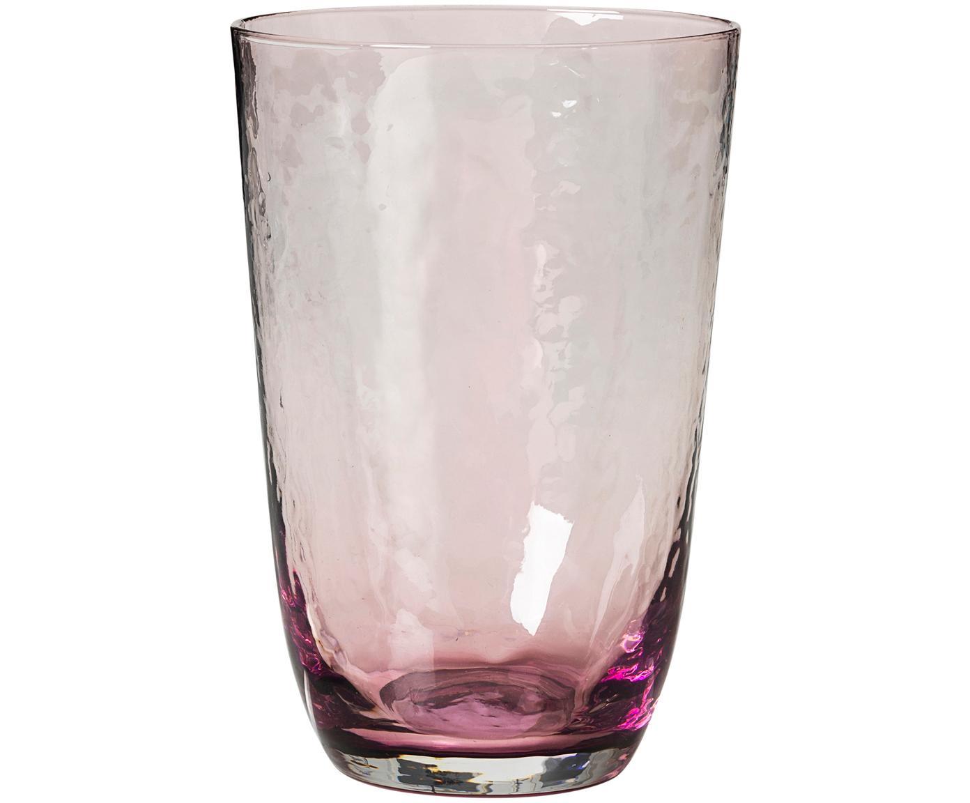 Vasos de vidrio soplado Hammered, 4uds., Vidrio soplado, Lila, transparente, Ø 9 x Al 14 cm