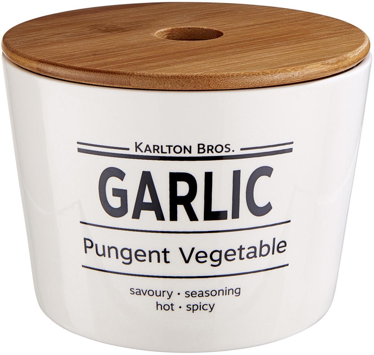 Aufbewahrungsdose Karlton Bros. Garlic, Porzellan, Weiß, Schwarz, Braun, Ø 14 x H 11 cm