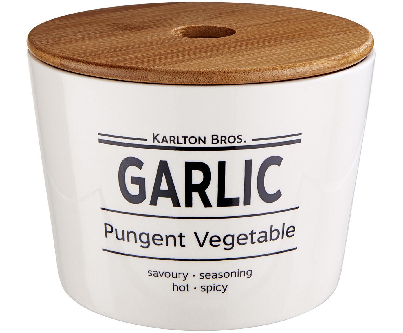 Aufbewahrungsdose Karlton Bros. Garlic, Porzellan, Weiss, Schwarz, Braun, Ø 14 x H 11 cm