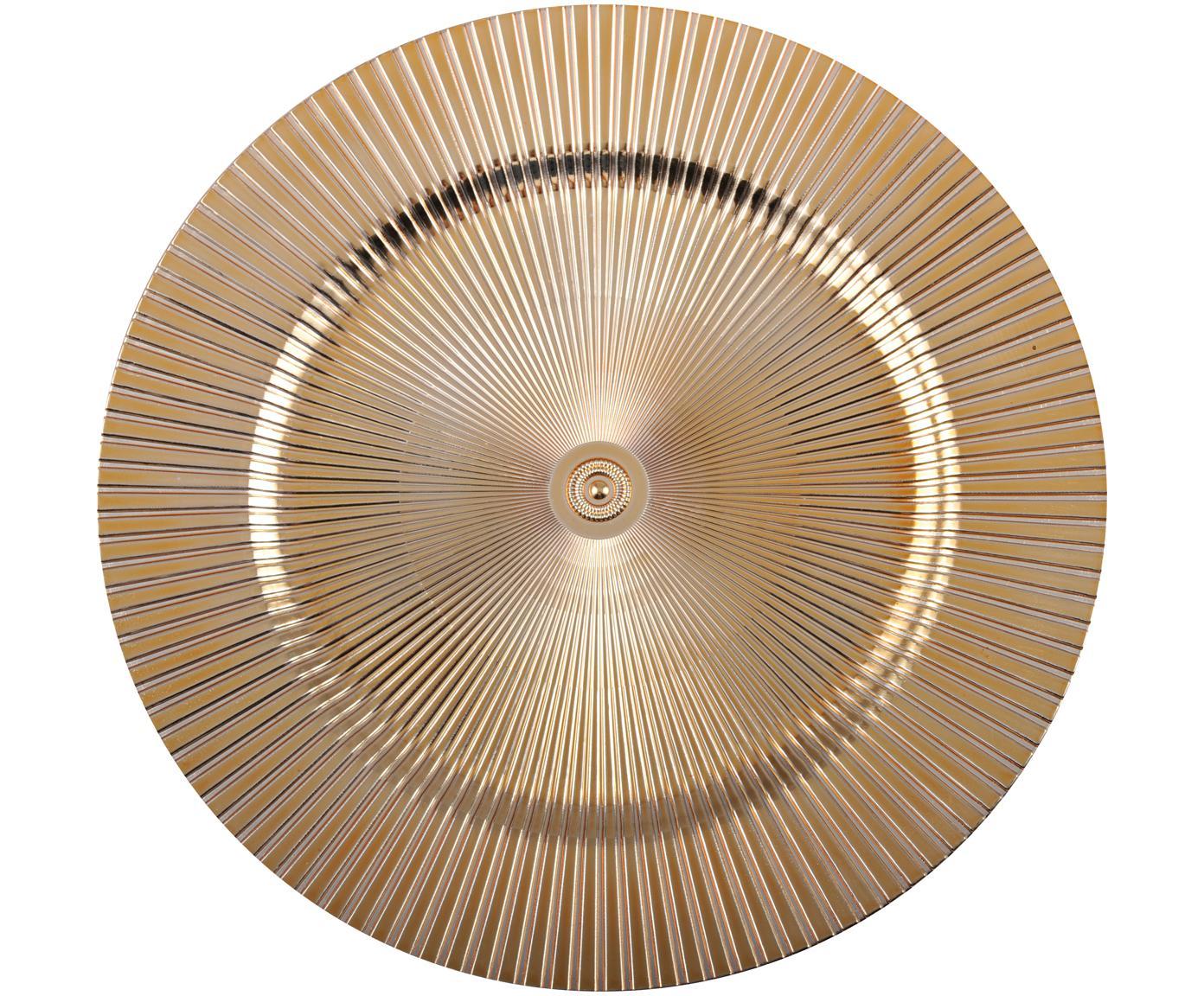 Platzteller Elegance in Gold und mit Rillen, Kunststoff, Goldfarben, Ø 31 cm