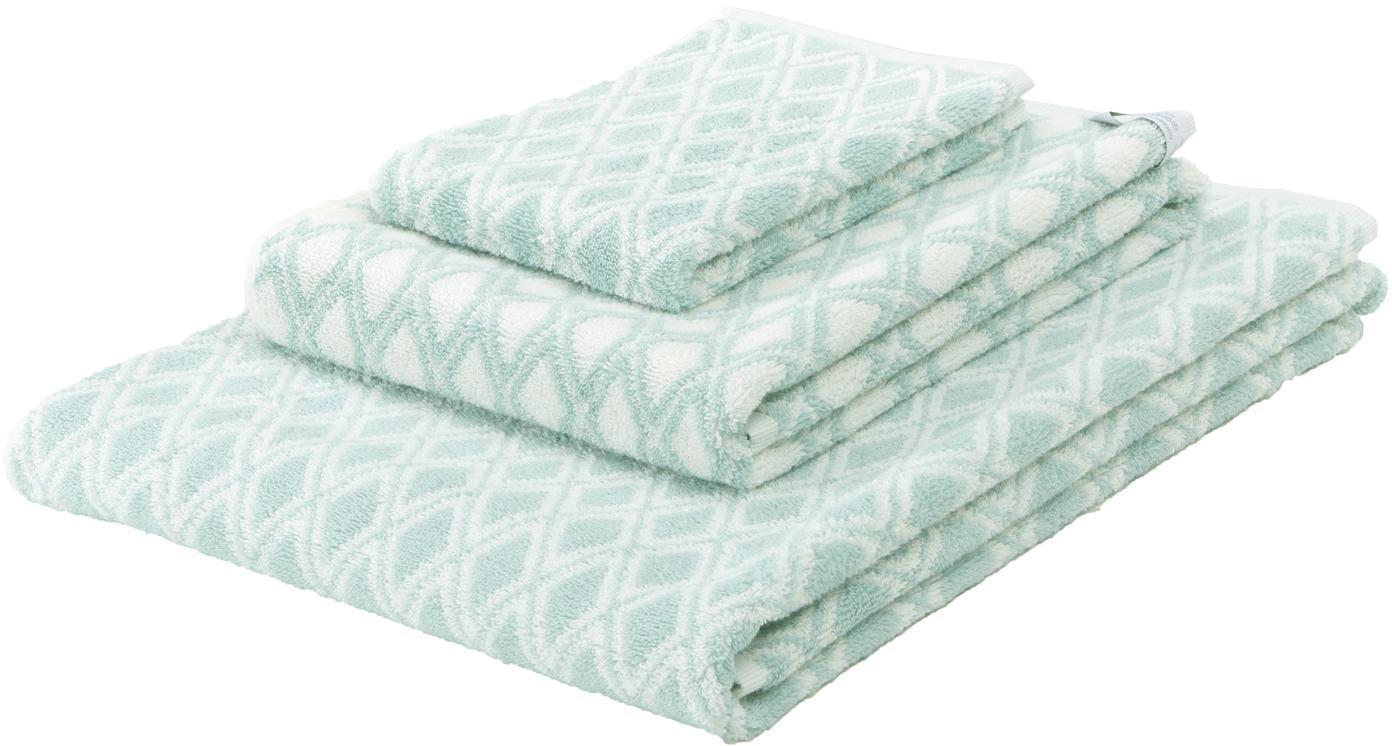 Set 3 asciugamani reversibili Ava, Verde menta, bianco crema, Set in varie misure