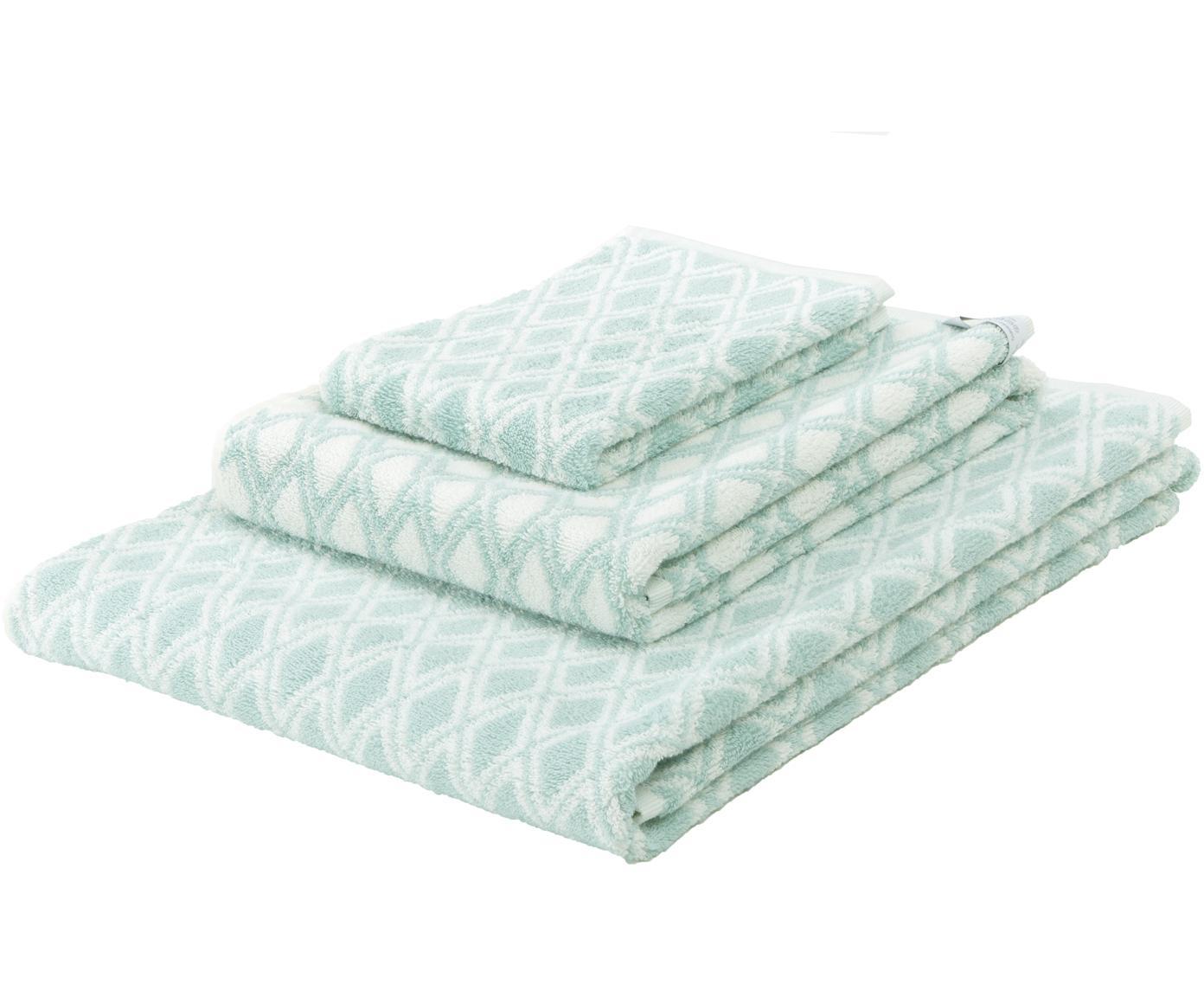 Dubbelzijdige handdoekenset Ava, 3-delig, 100% katoen, middelzware kwaliteit, 550 g/m², Mintgroen, crèmewit, Verschillende formaten