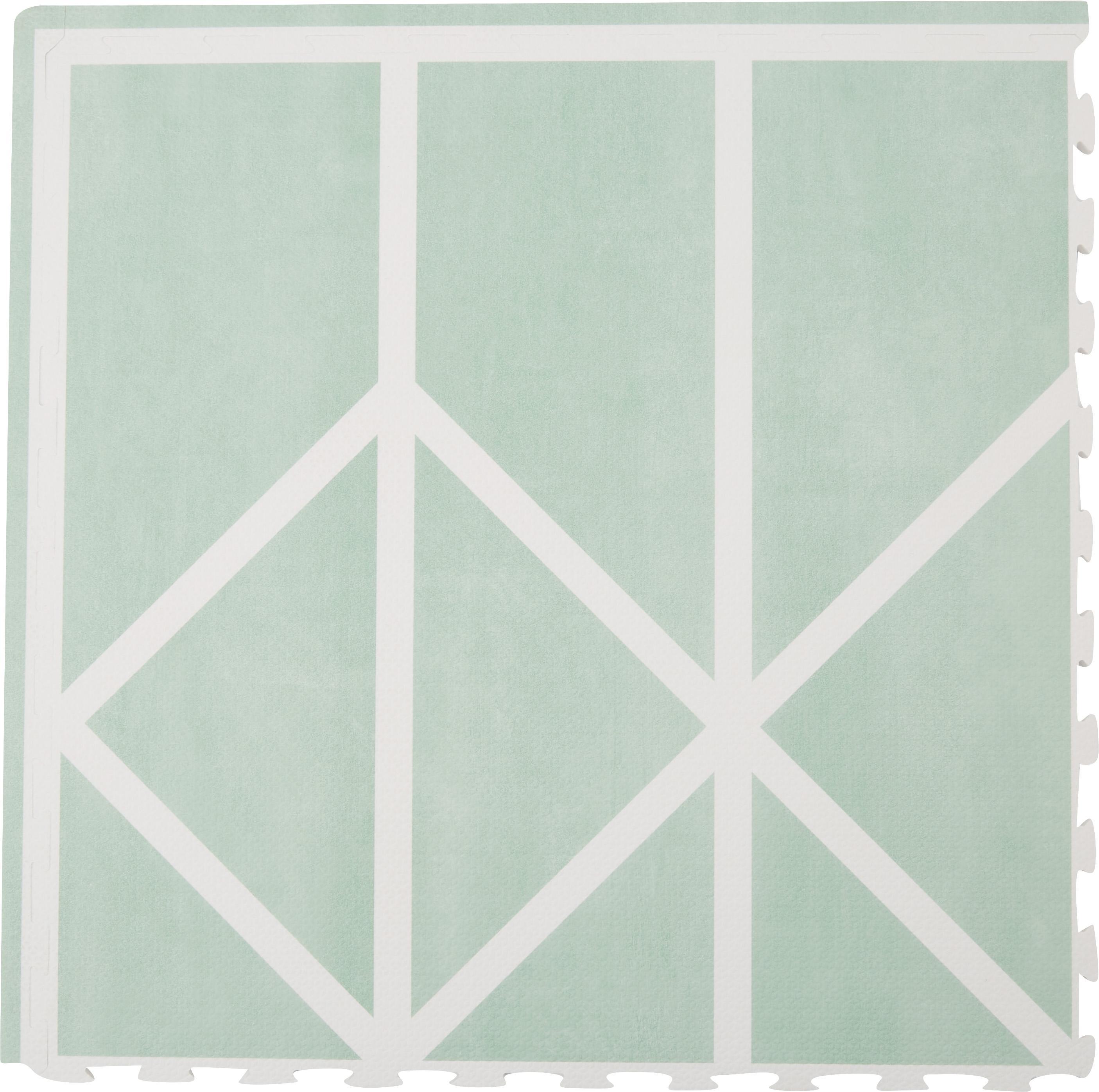 Tappeto da gioco Nordic 18 pz, Schiuma (EVAC), priva di sostanze inquinanti, Verde, crema, Larg. 120 x Lung. 180 cm
