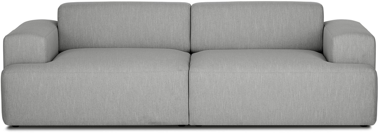 Bank Melva (3-zits), Bekleding: polyester, Frame: massief grenenhout, spaan, Poten: grenenhout, Grijs, B 240 x D 101 cm