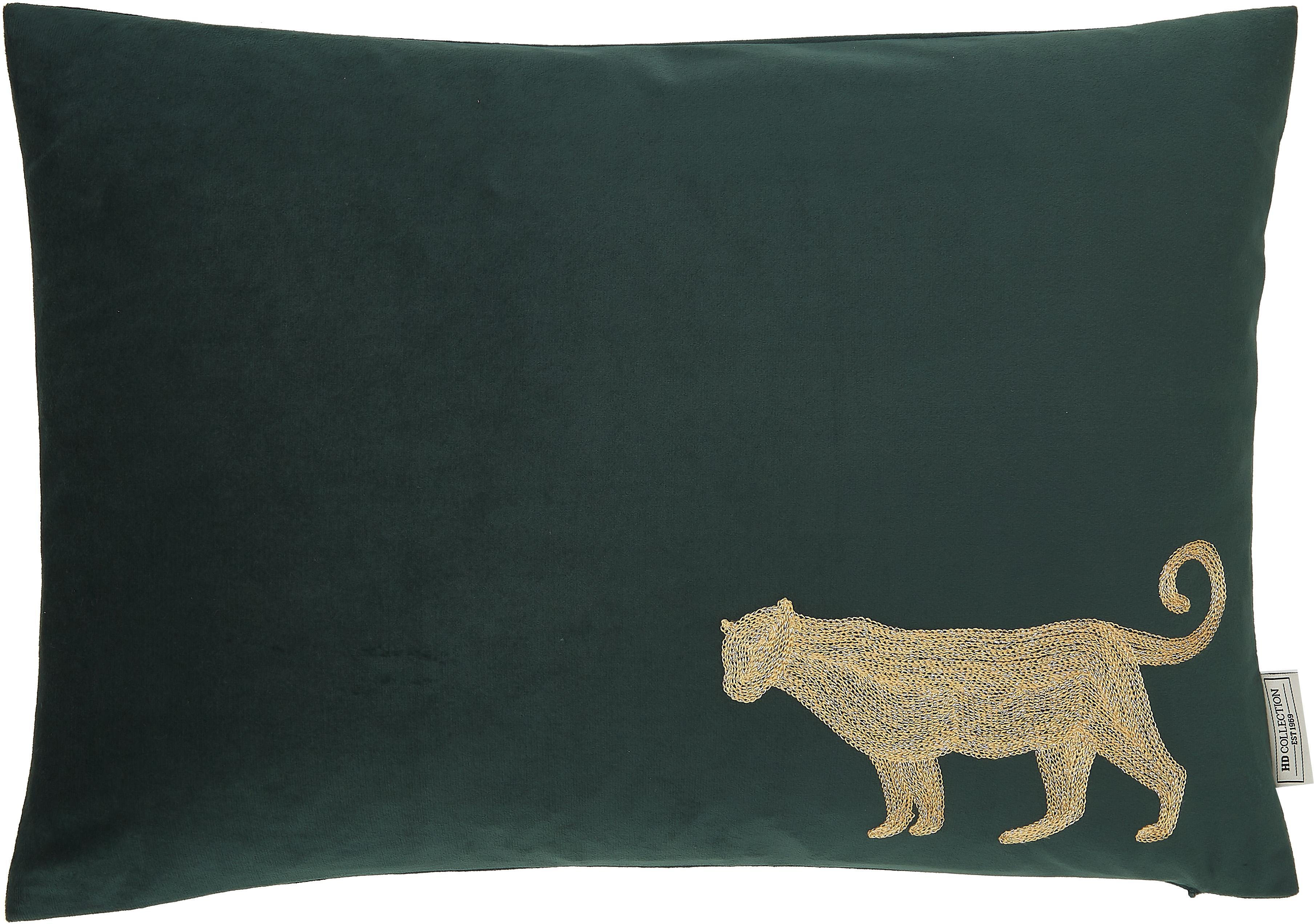Cojín bordado de terciopeloSingle Leopard, con relleno, 100%terciopelo (poliéster), Verde, dorado, An 40 x L 60 cm