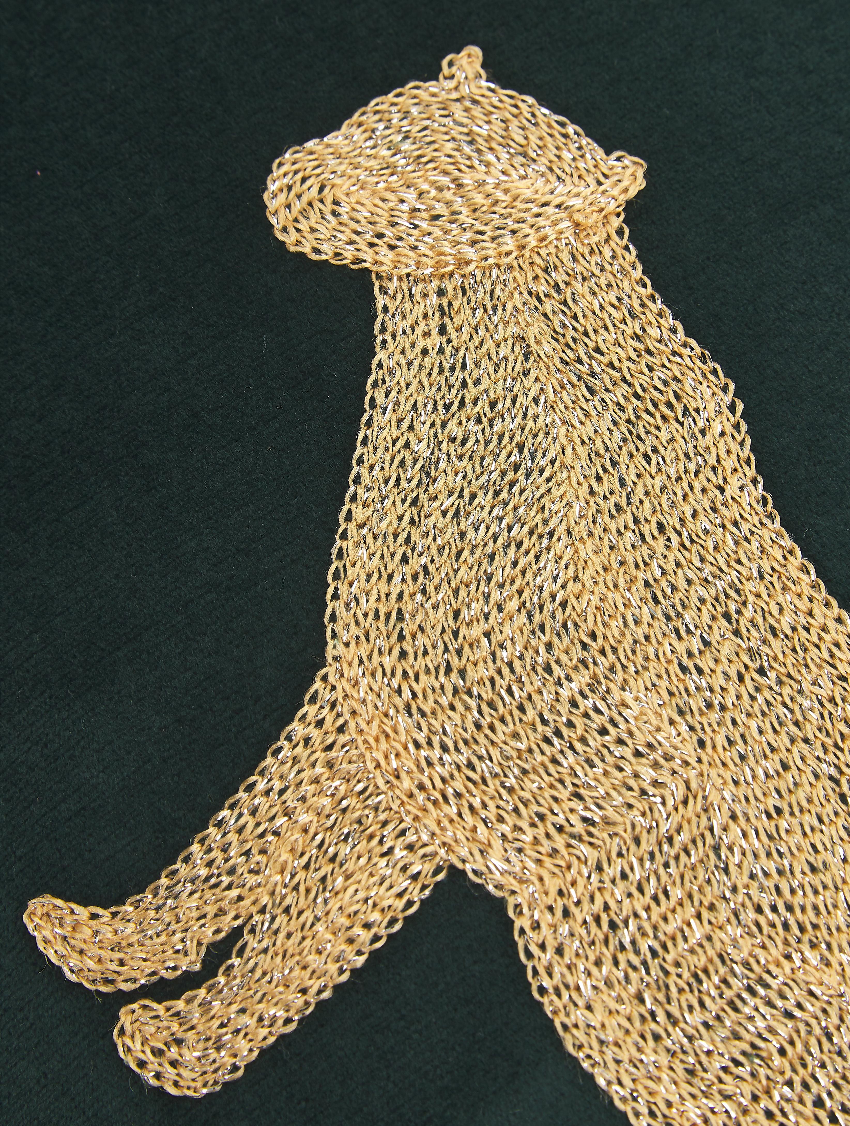 Besticktes Samt-Kissen Single Leopard in Grün/Gold, mit Inlett, 100% Samt (Polyester), Grün, Goldfarben, 40 x 60 cm