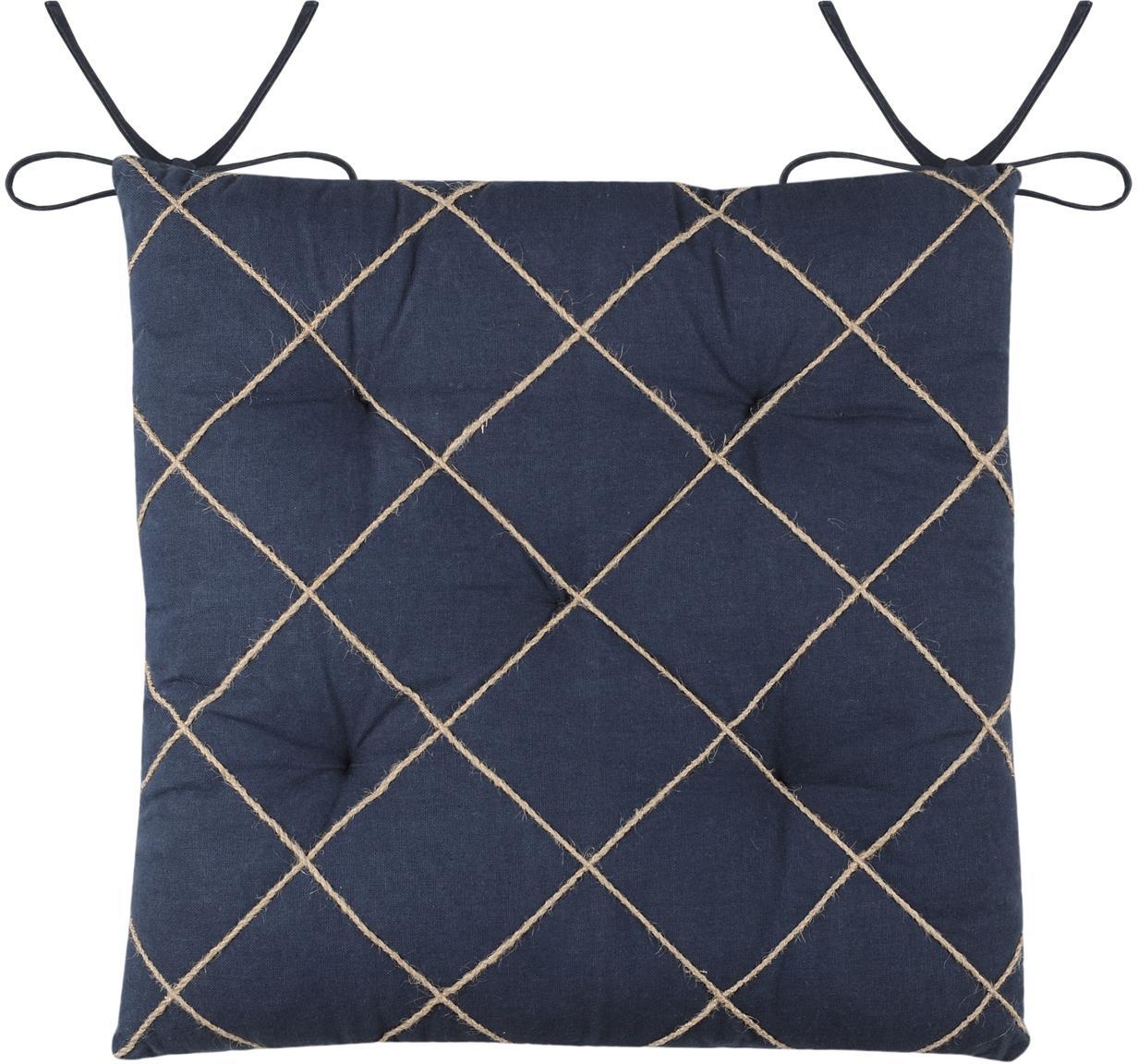 Stoelkussen Concarneau met verhoogd patroon, 100% katoen, Donkerblauw, 40 x 40 cm