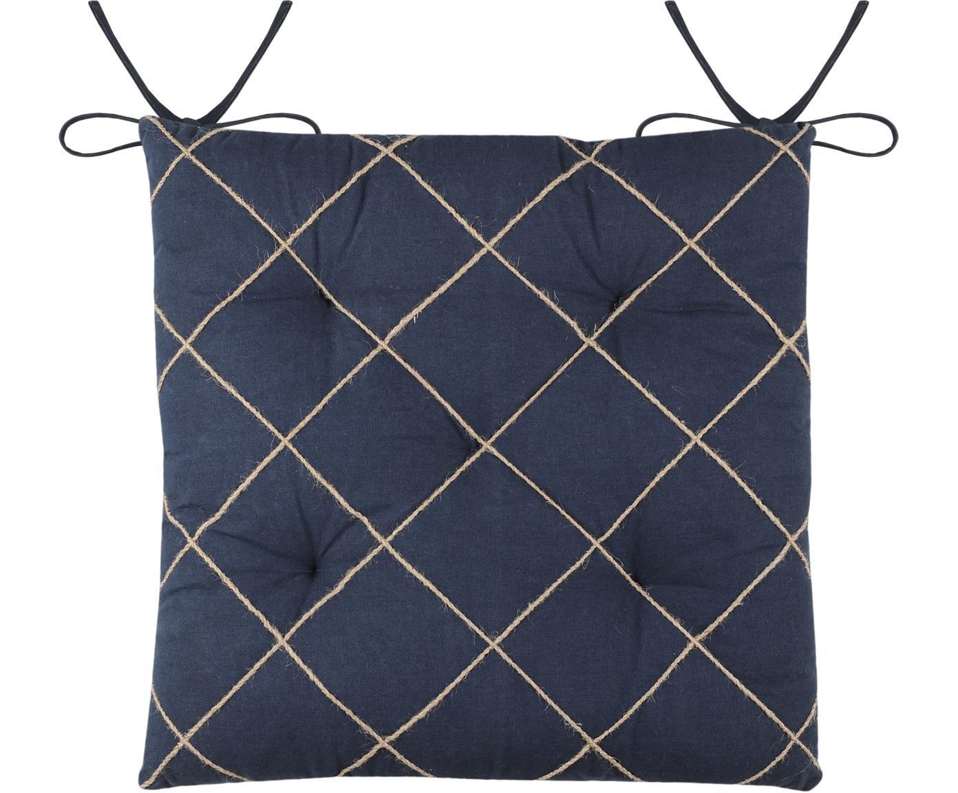 Cojín de asiento texturizado Concarneau, 100%algodón, Azul oscuro, An 40 x L 40 cm