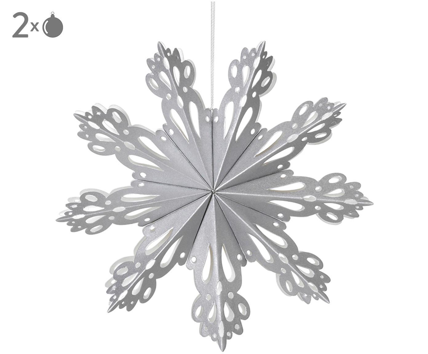 Ciondolo XL Snowflake, Carta, Argentato, Ø 15 cm