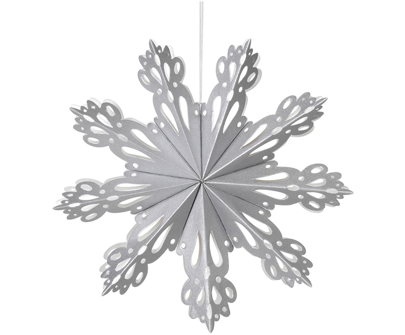 Baumanhänger Snowflake, 2 Stück, Papier, Silberfarben, Ø 15 cm
