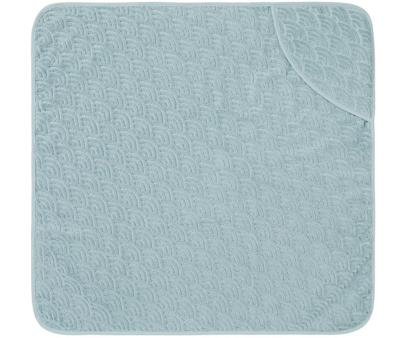 Toalla baño bebé de algodón ecológico Wave, Algodón orgánico, Azul, An 80 x L 80 cm