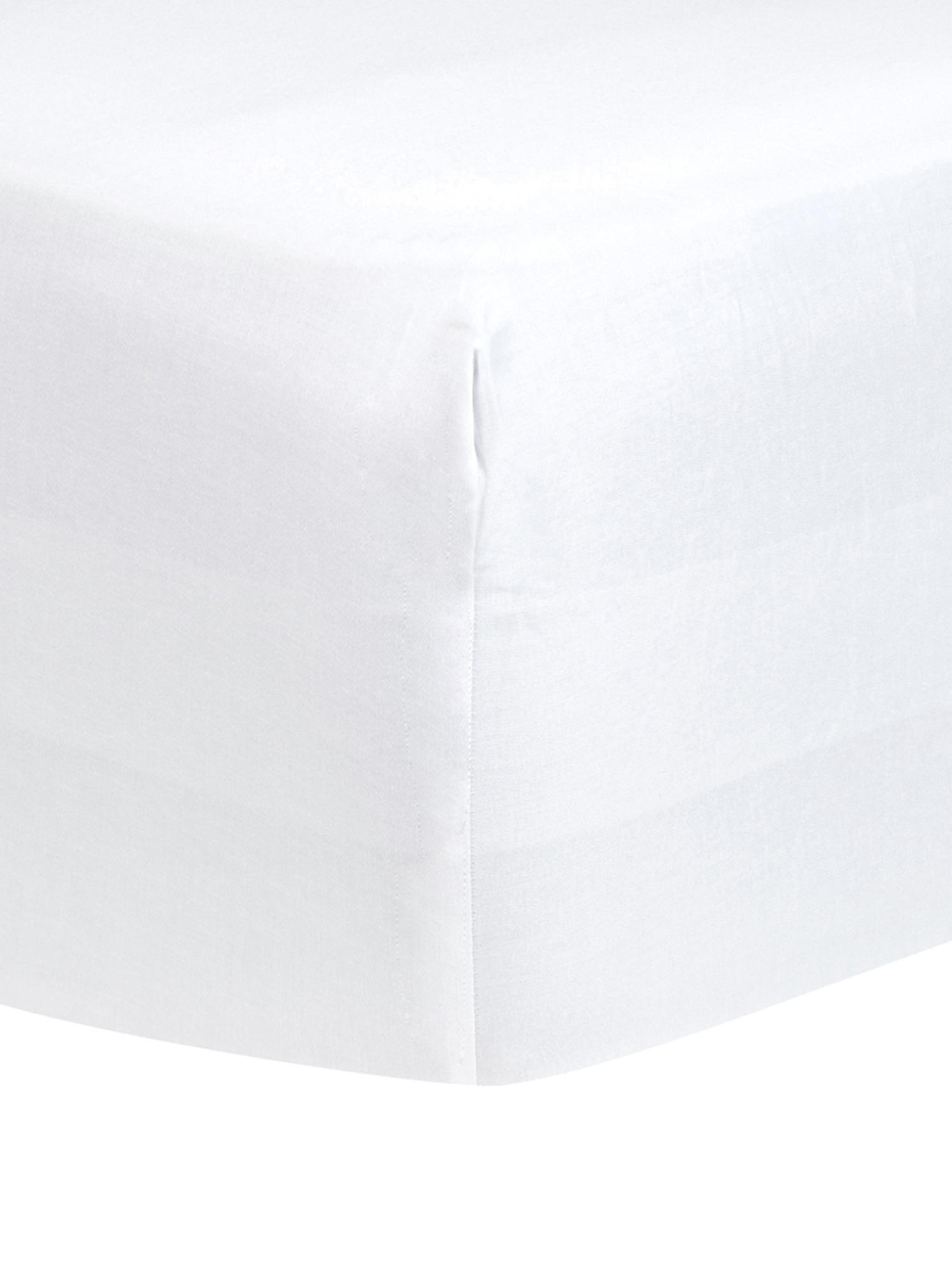 Sábana bajera de satén Comfort, Blanco, Cama 150 cm (160 x 200 cm)
