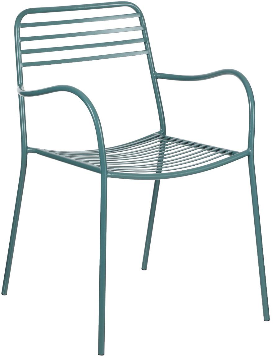 Poltrona in metallo con braccioli Tula 2 pz, Metallo verniciato a polvere, Verde, Larg. 50 x Prof. 60 cm