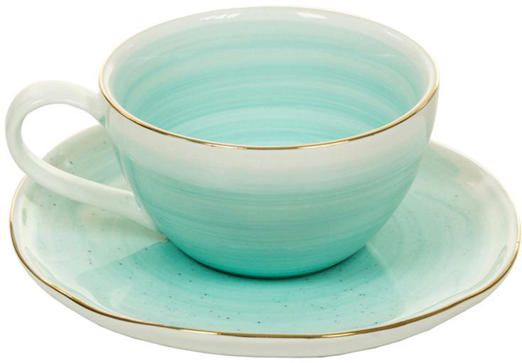 Komplet ręcznie wykonanych filiżanek do espresso Bol, 4 elem., Porcelana, Turkusowoniebieski, Ø 9 x W 5 cm