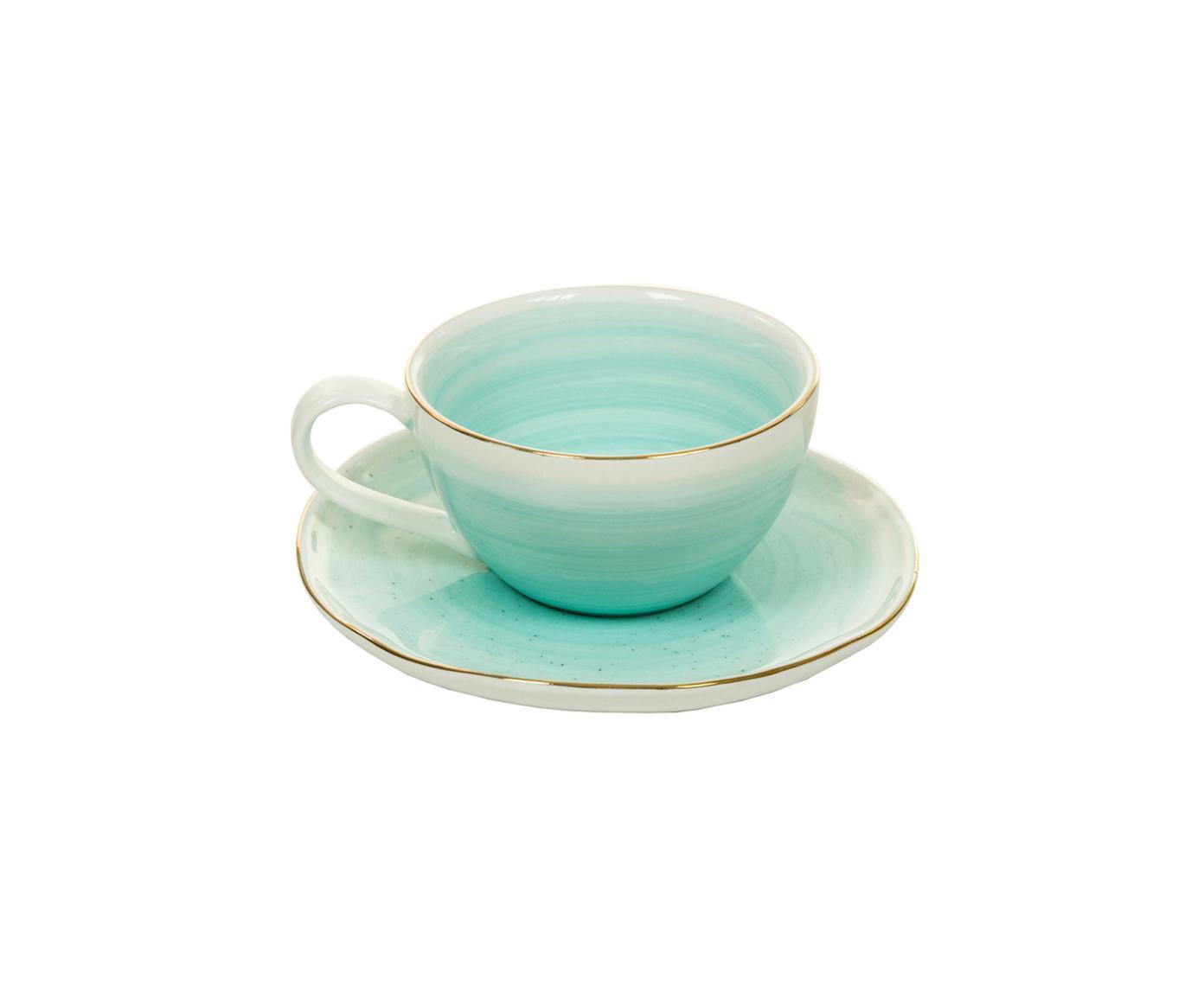 Handgemachte Espressotassen Bol mit Goldrand, 2 Stück, Porzellan, Türkisblau, Ø 9 x H 5 cm