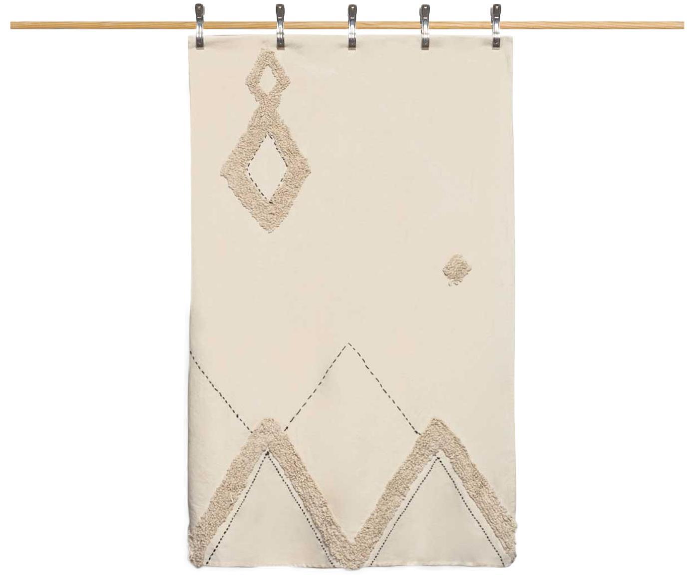 Tagesdecke Lienzo mit Hoch-Tief-Muster, 100% Baumwolle, Cremeweiß, Braun, 180 x 260 cm