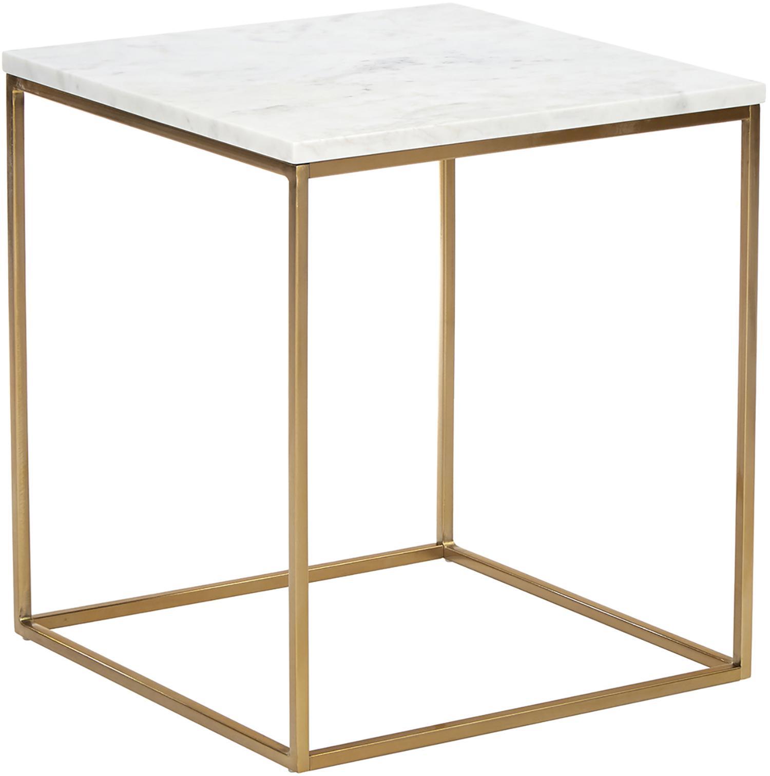 Stolik pomocniczy z marmuru Alys, Blat: marmur, Stelaż: metal malowany proszkowo, Blat: białoszary marmur Stelaż: odcienie złotego, błyszczący, S 45 x W 50 cm