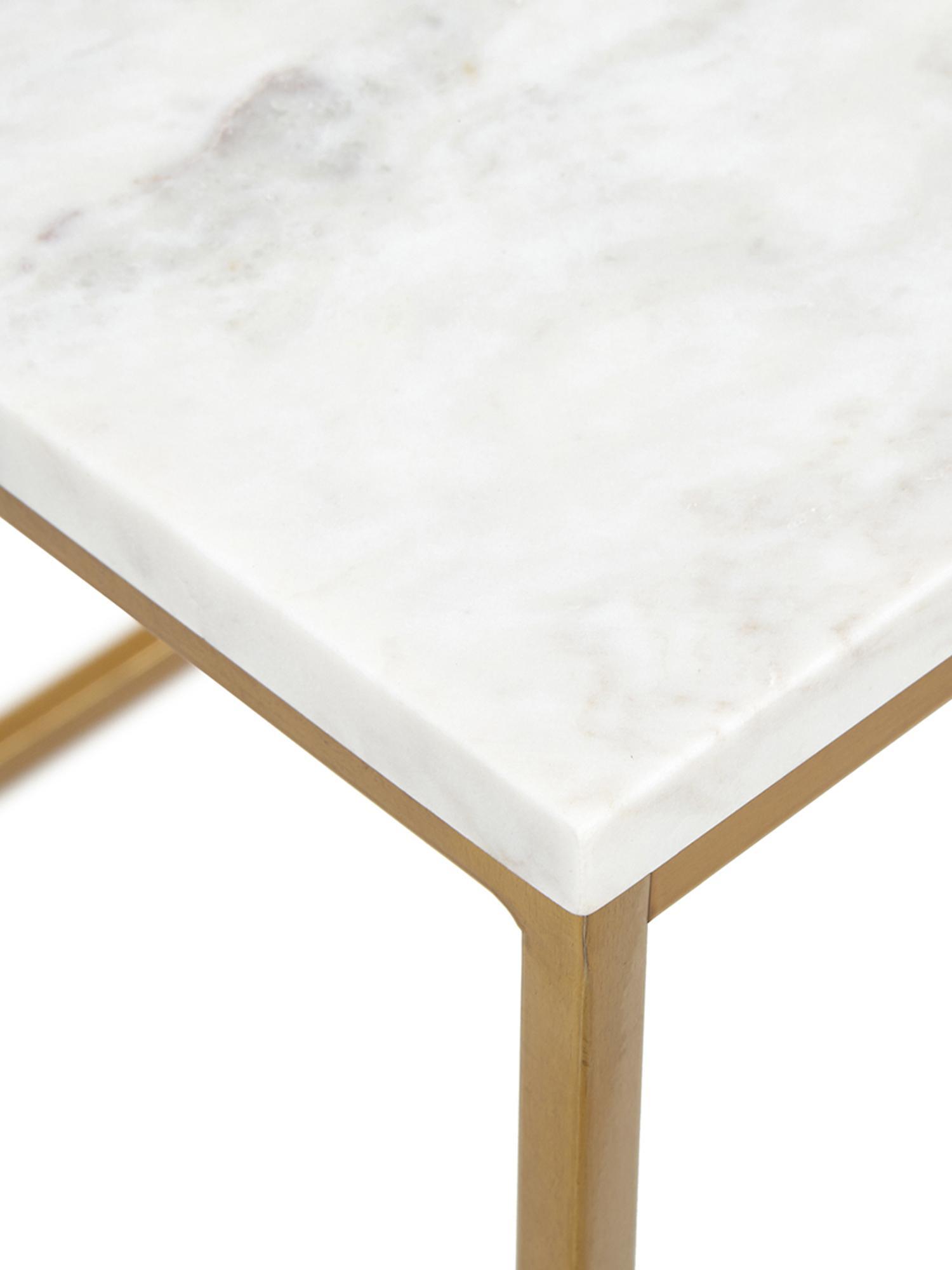 Tavolino con piano in marmo Alys, Piano d'appoggio: pietra naturale di marmo, Struttura: metallo verniciato a polv, Piano d'appoggio: marmo bianco-grigio Struttura: dorato lucido, Larg. 45 x Alt. 50 cm