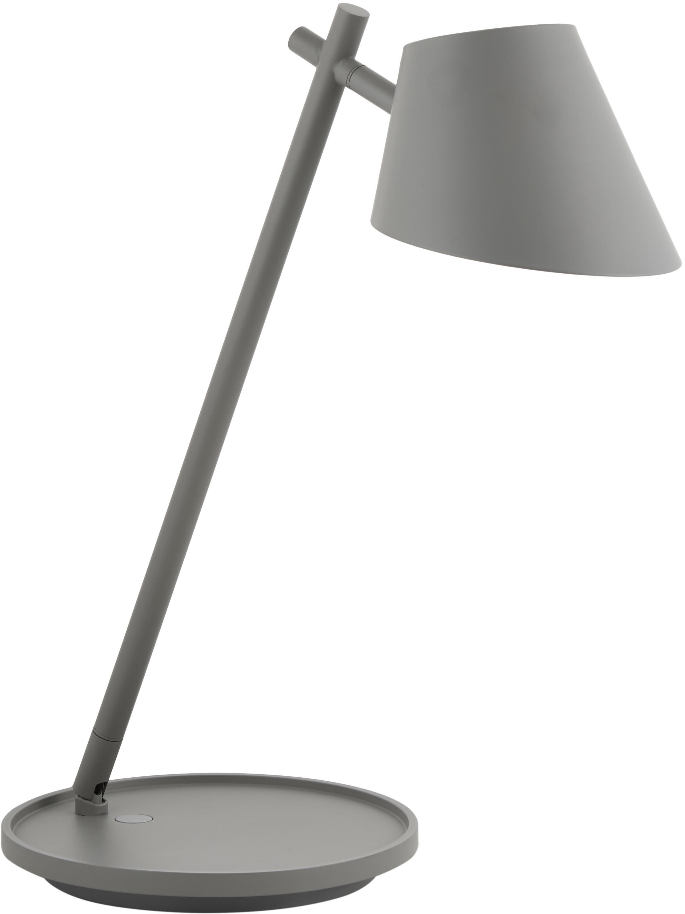 Dimmbare LED-Schreibtischlampe Mora in Grau, Lampenschirm: Aluminium, Lampenfuß: Aluminium, Kunststoff, Grau, Ø 15 x H 47 cm