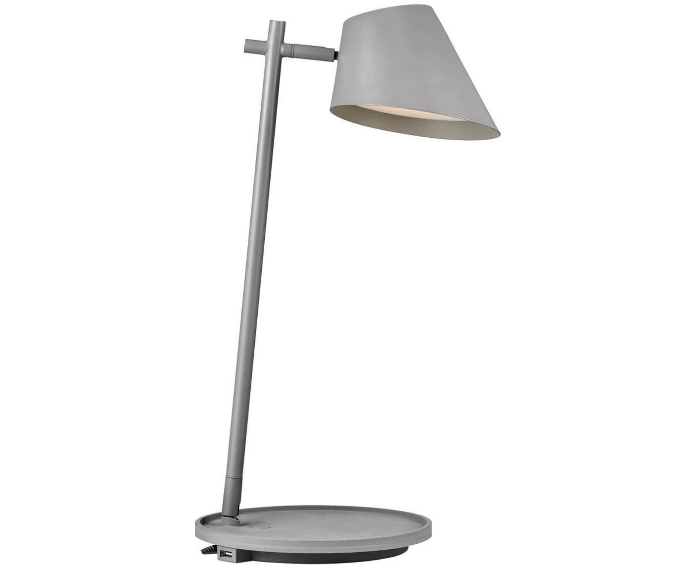 Lampada da tavolo a LED con connessione USB Stay, Alluminio, materiale sintetico (PVC), Grigio, Ø 15 x Alt. 47 cm