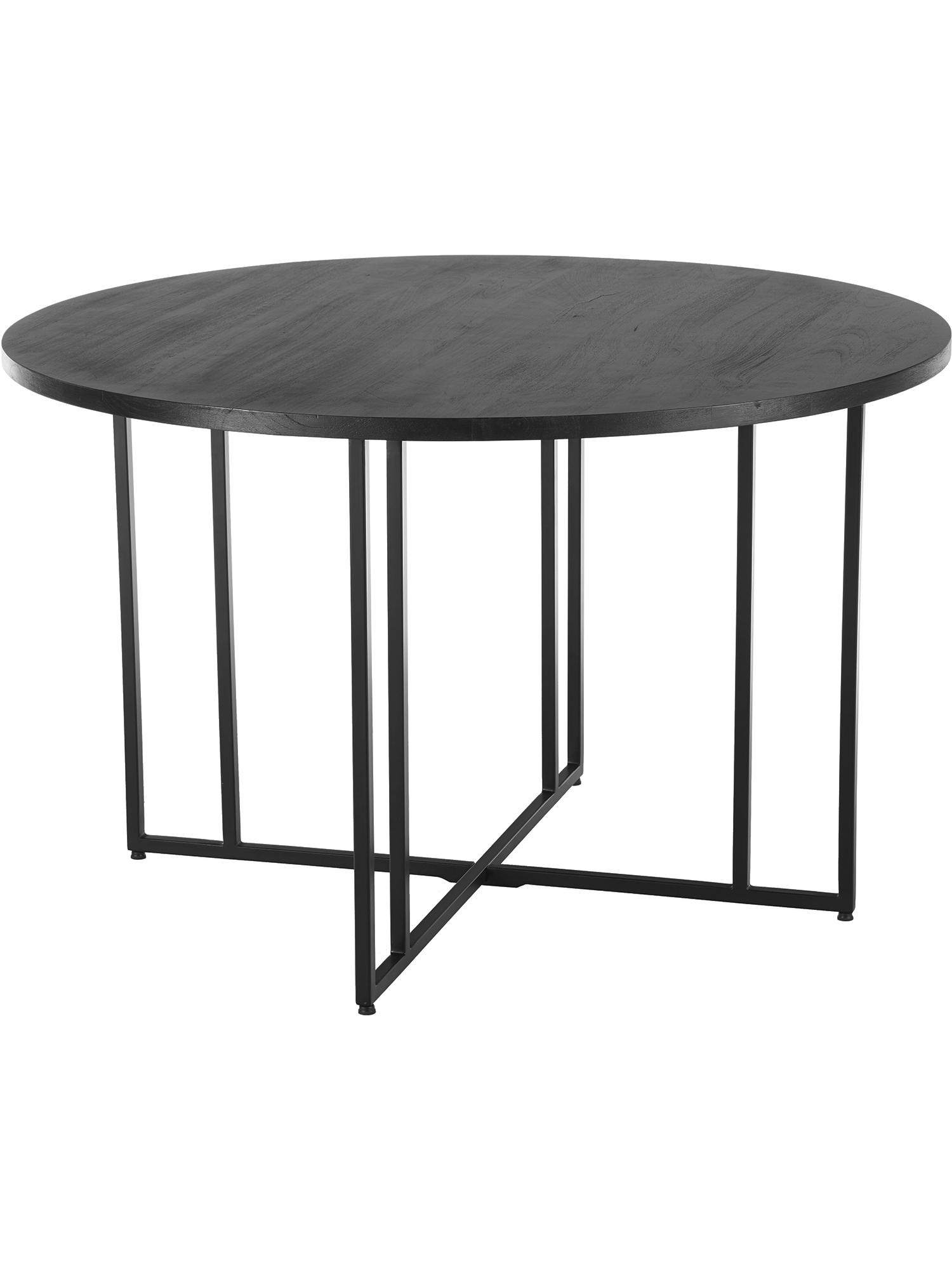 Mesa de comedor redonda de madera maciza Luca, Tablero: madera de mango maciza ce, Estructura: metal con pintura en polv, Negro, Ø 120 x Al 75 cm