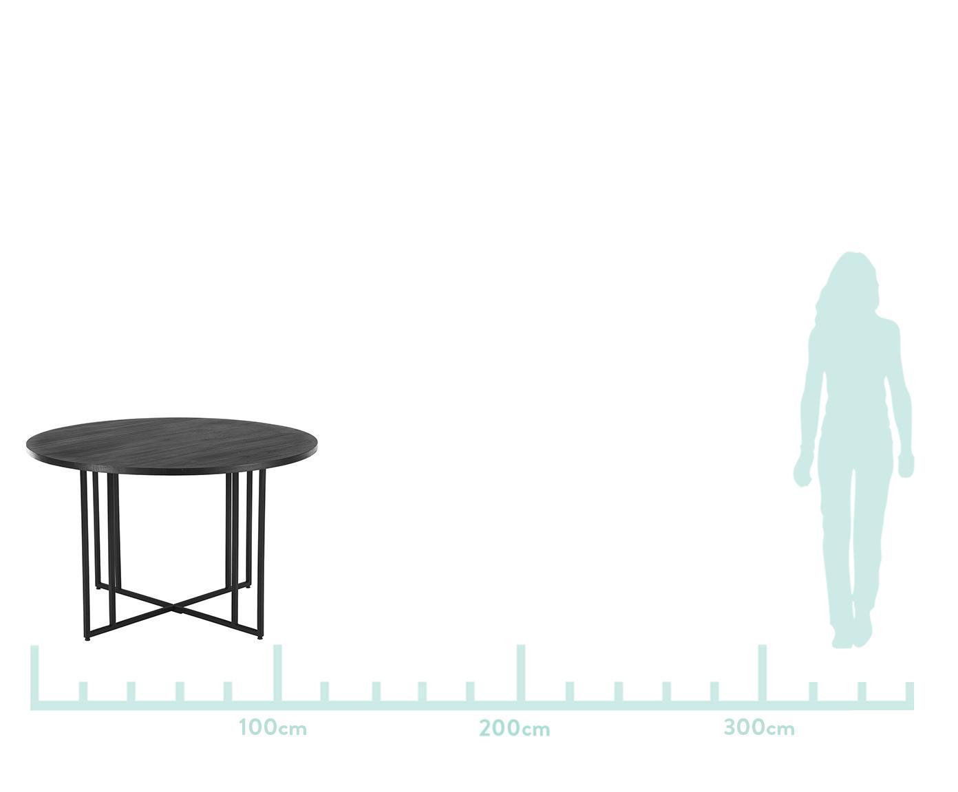 Runder Massivholz Esstisch Luca in Schwarz, Tischplatte: Massives Mangoholz, gebür, Gestell: Metall, pulverbeschichtet, Tischplatte: Mangoholz, schwarz lackiertGestell: Schwarz, matt, Ø 120 x H 75 cm