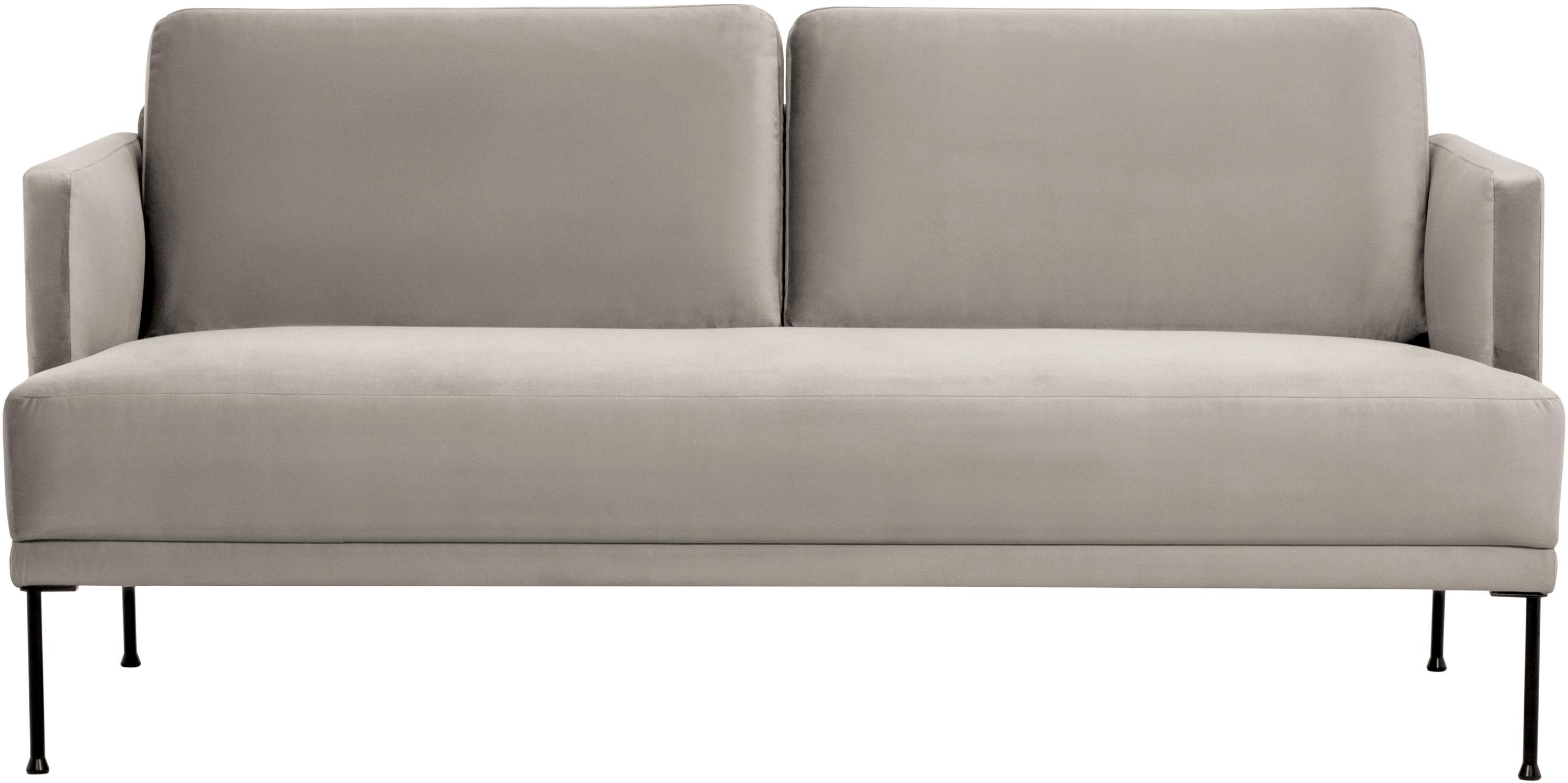 Fluwelen bank Fluente (2-zits), Bekleding: fluweel (hoogwaardig poly, Frame: massief grenenhout, Poten: gepoedercoat metaal, Fluweel beige, B 166 x D 85 cm