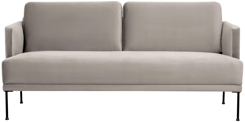Samt-Sofa Fluente (2-Sitzer), Bezug: Samt (Hochwertiger Polyes, Gestell: Massives Kiefernholz, Füße: Metall, pulverbeschichtet, Samt Beige, B 166 x T 85 cm