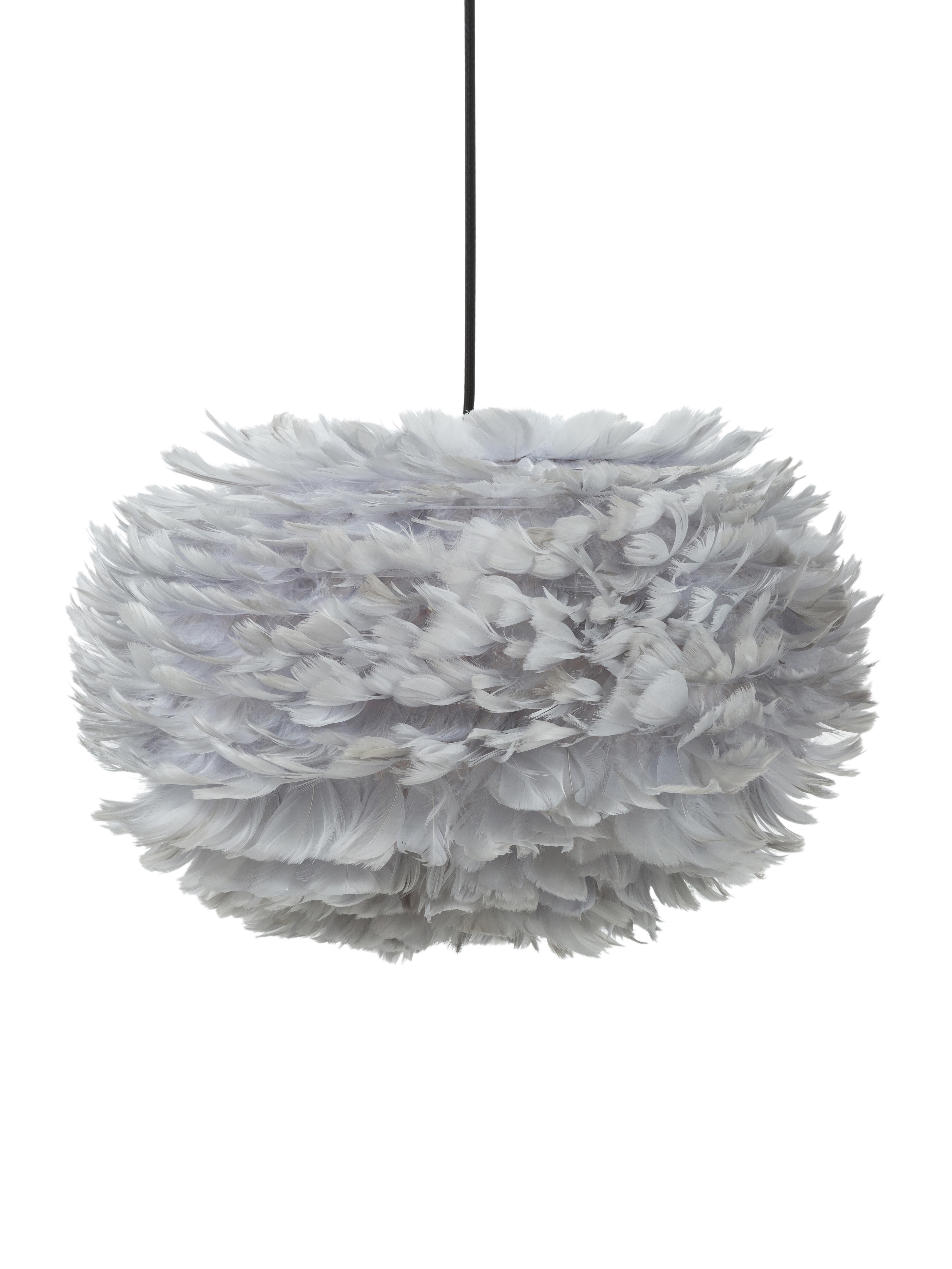 Lampada a sospensione in piume Eos, Paralume: piuma d'oca, acciaio, Baldacchino: materiale sintetico, Grigio chiaro, Ø 45 x Alt. 30 cm