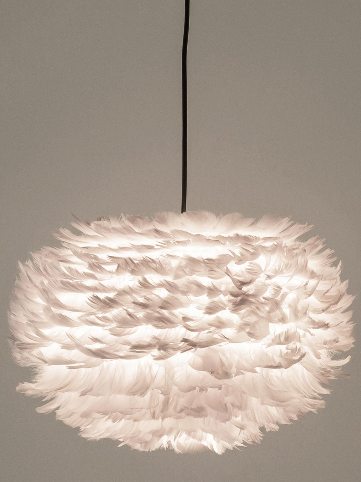 Hanglamp Eos van veren, Lampenkap: ganzenveren, staal, Baldakijn: kunststof, Lichtgrijs, Ø 45 x H 30 cm