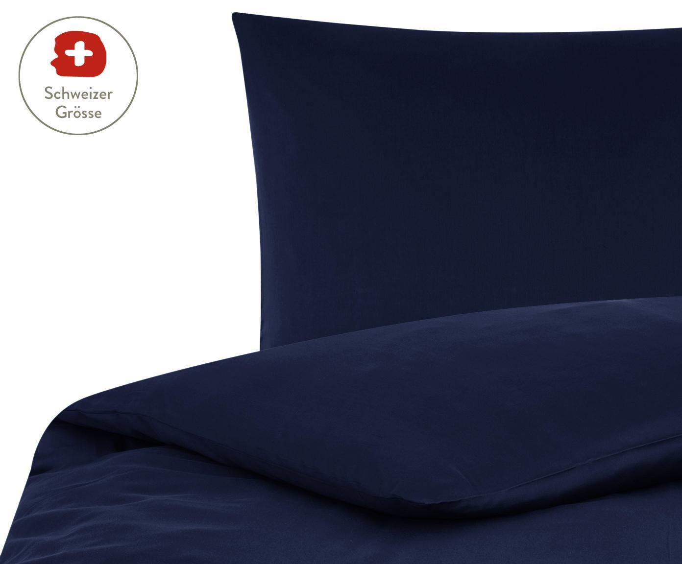 Baumwollsatin-Bettdeckenbezug Comfort in Dunkelblau, Webart: Satin, leicht glänzend, Dunkelblau, 160 x 210 cm