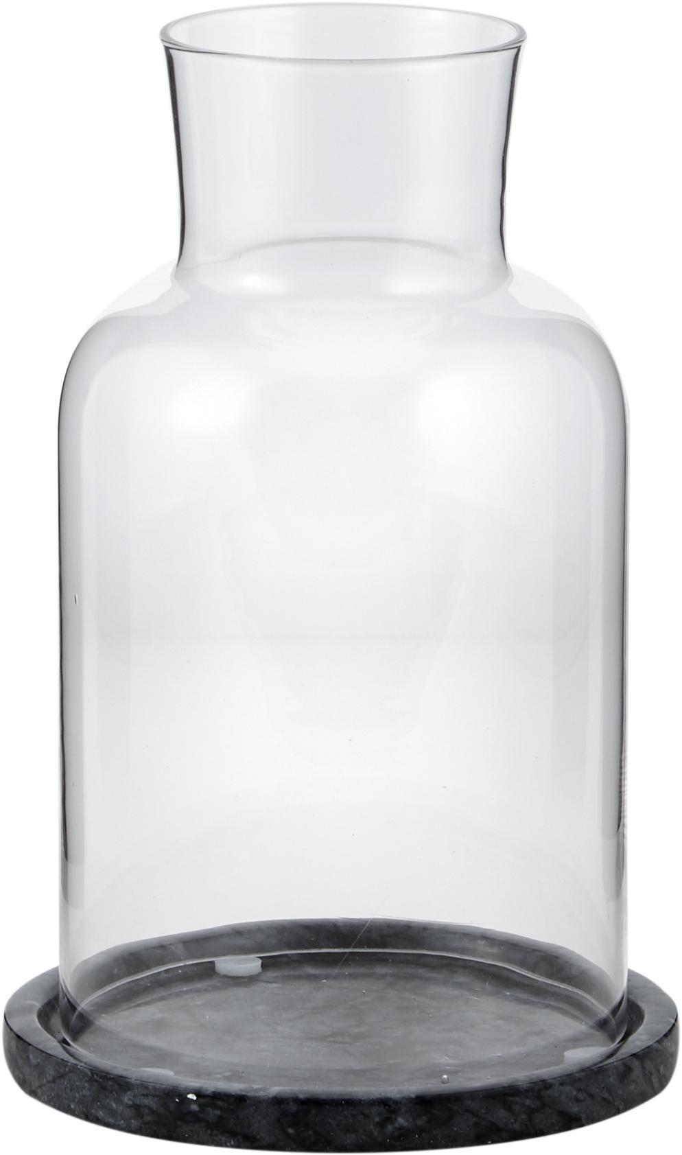 Portavela de mármol Lindon, Vidrio, mármol, Mármol negro, transparente, Ø 13x Al 22 cm