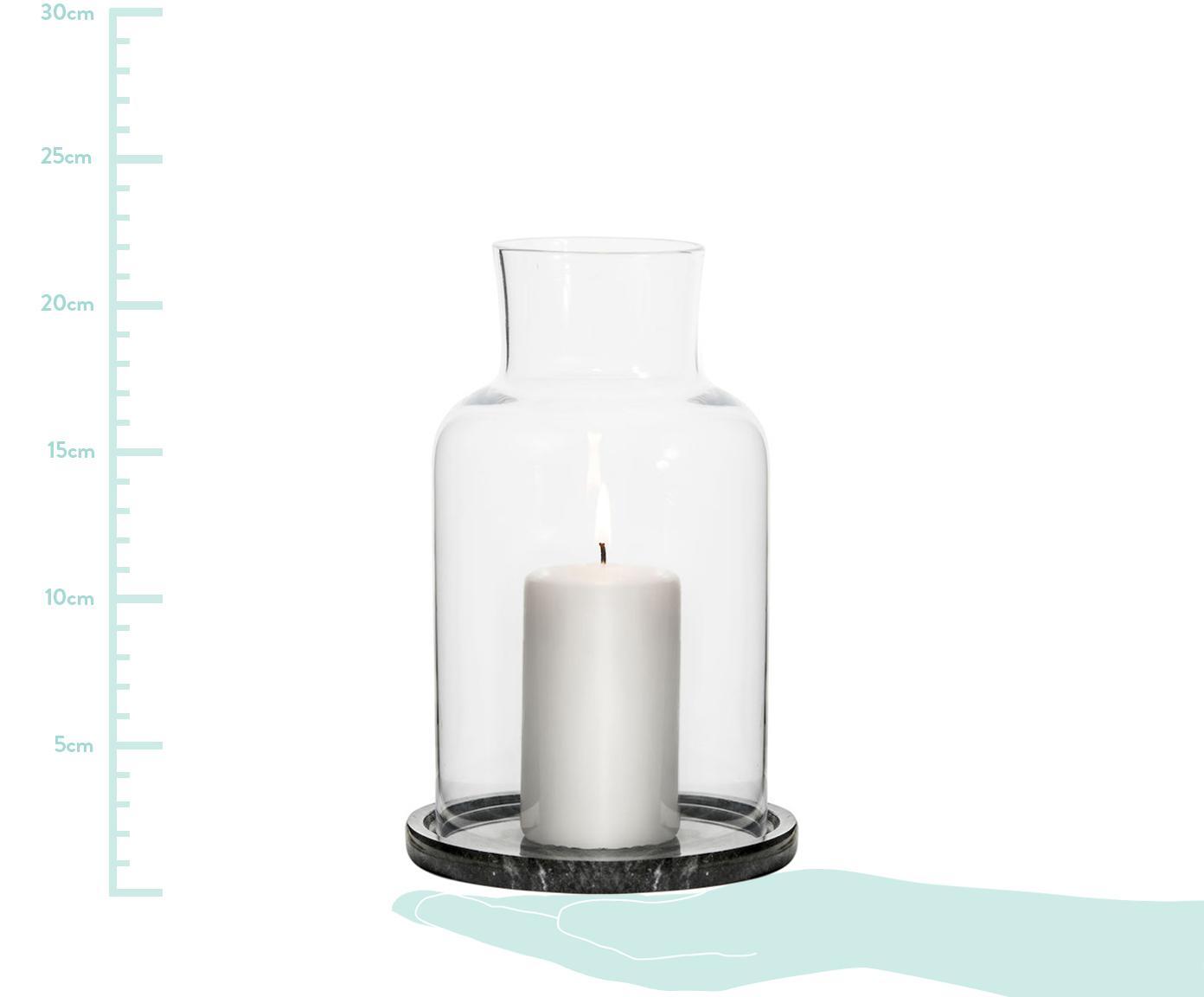 Świecznik z marmuru Lindon, Szkło, marmur, Czarny, marmurowy, transparentny, Ø 13 x W 22 cm