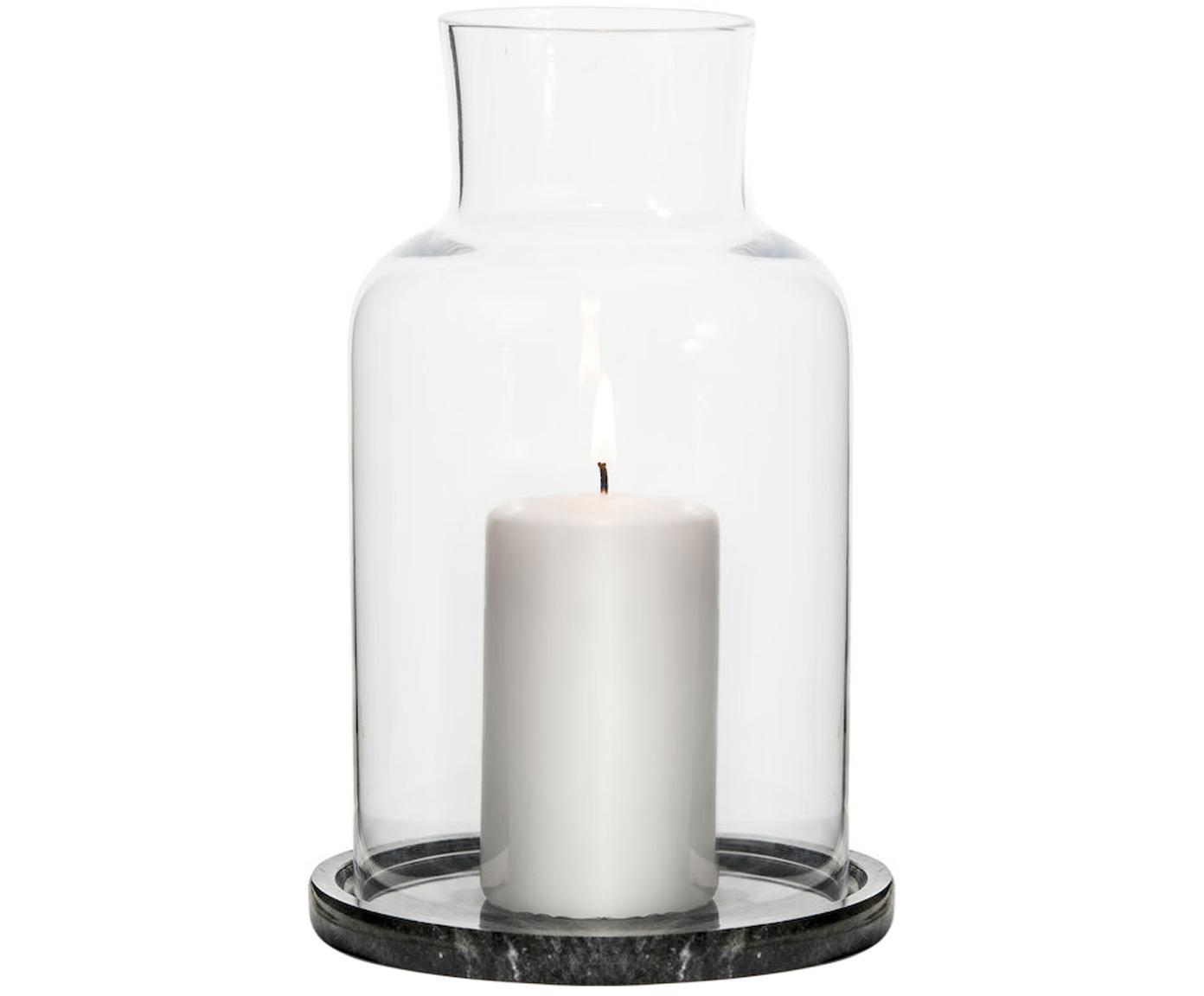 Lanterna in marmo Lindon, Vetro, marmo, Nero marmorizzato, trasparente, Ø 13 x Alt. 22 cm