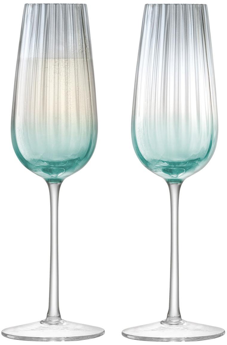 Ręcznie wykonany kieliszek do szampana Dusk, 2 elem., Szkło, Zielony, szary, Ø 6 x W 23 cm