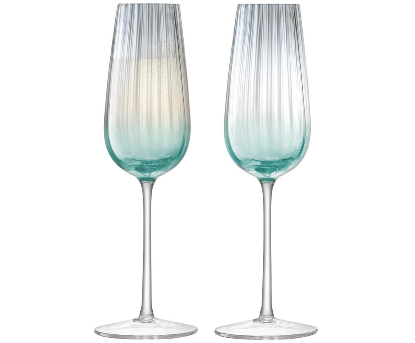 Handgemaakte champagneglazen Dusk met kleurverloop en groefstructuur, 2er-set, Glas, Groen, grijs, Ø 23 x H 6 cm