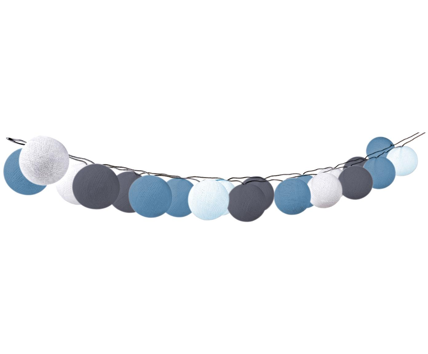 LED Lichterkette Bellin, 320 cm, Lampions: Baumwolle, Blau, Hellblau, Dunkelblau, Weiß, L 320 cm