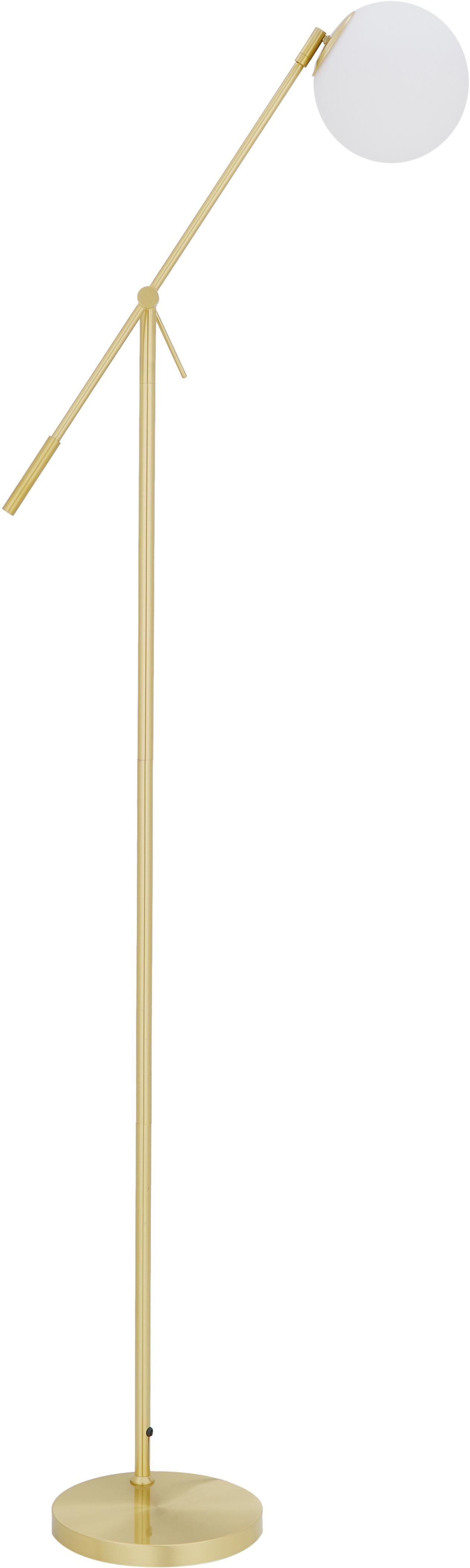 Stehleuchte Moon, Lampenschirm: Glas, Baldachin und Fassung: Messing, gebürstetLampenschirm: WeissKabel: Schwarz, Ø 17 x H 162 cm