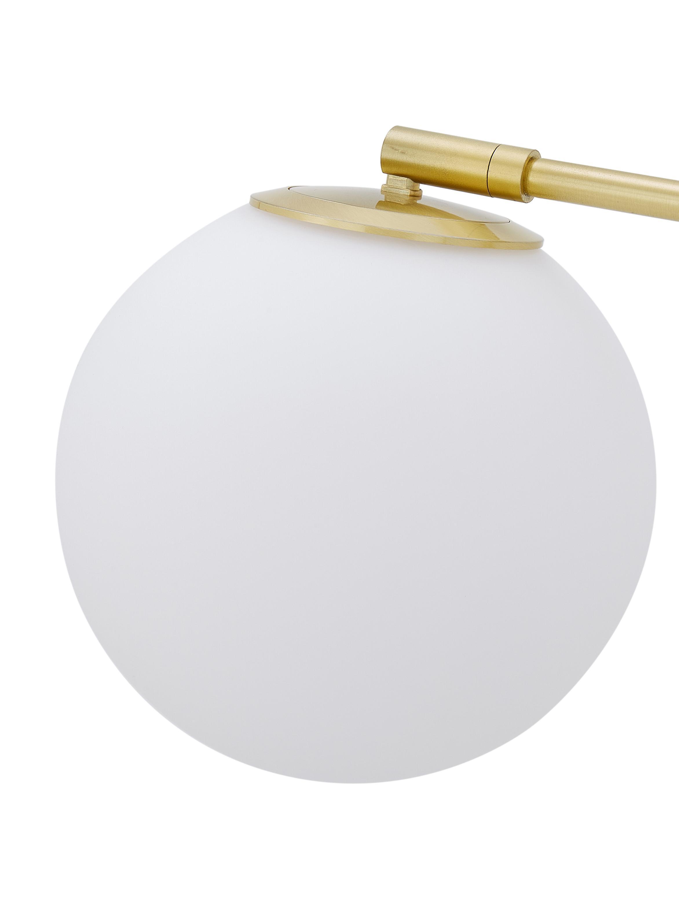 Stehleuchte Moon, Lampenschirm: Glas, Baldachin und Fassung: Messing, gebürstetLampenschirm: WeißKabel: Schwarz, Ø 17 x H 162 cm