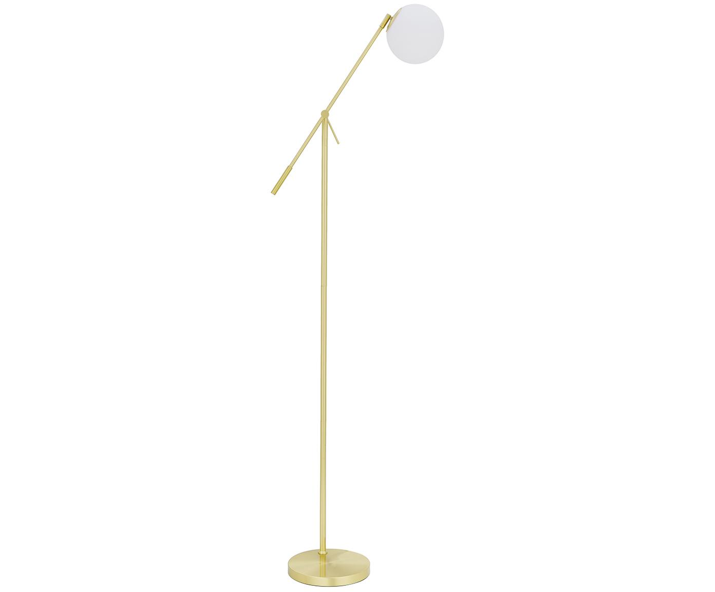 Vloerlamp Moon, Lampenkap: glas, Baldakijn en fitting: geborsteld messingkleurig. Lampenkap: wit. Snoer: zwart, Ø 17 x H 162 cm