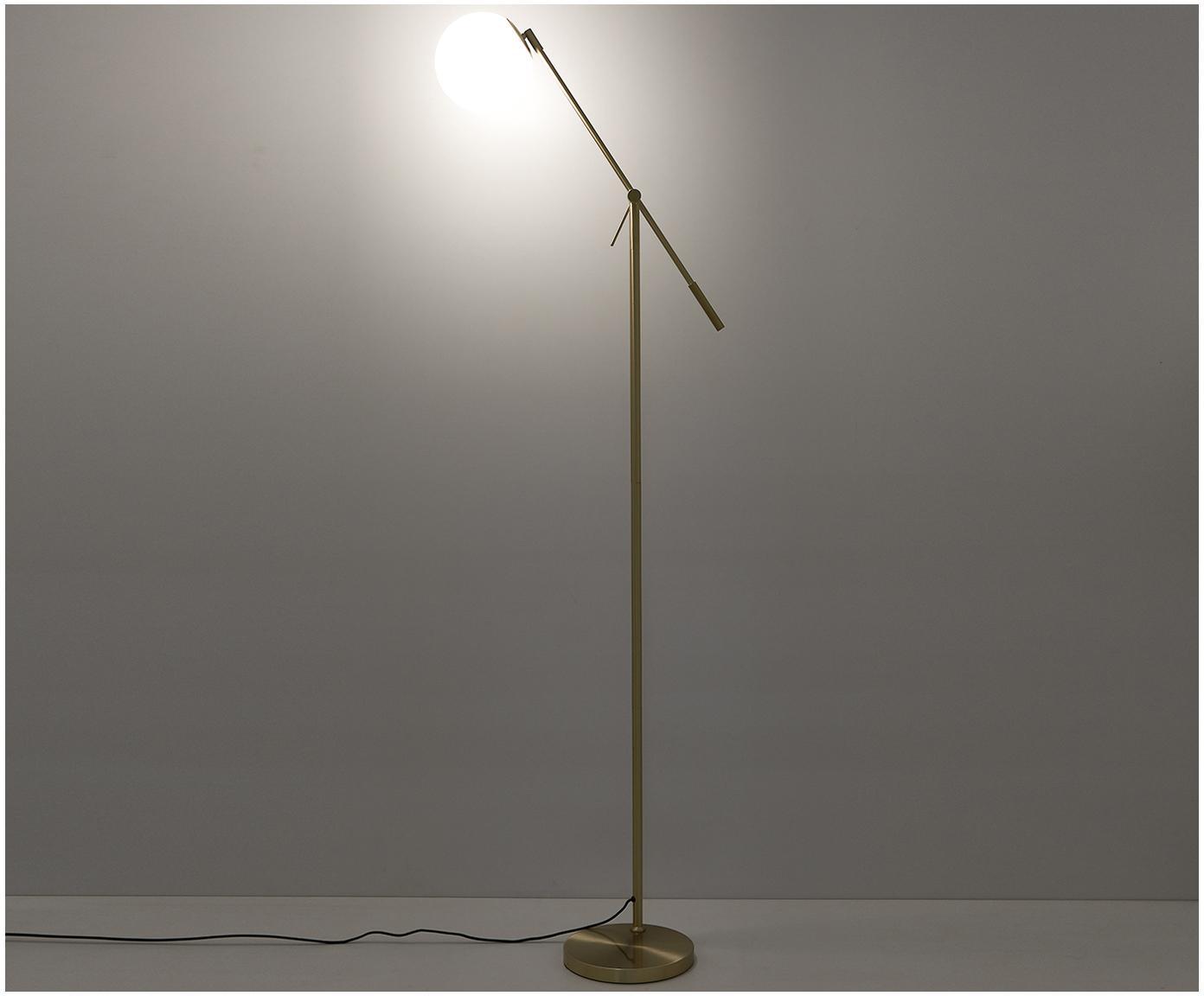 Lampa podłogowa Moon, Osłona mocowania sufitowego i oprawa: mosiądz, szczotkowany Klosz: biały Kabel:, Ø 17 x W 162 cm