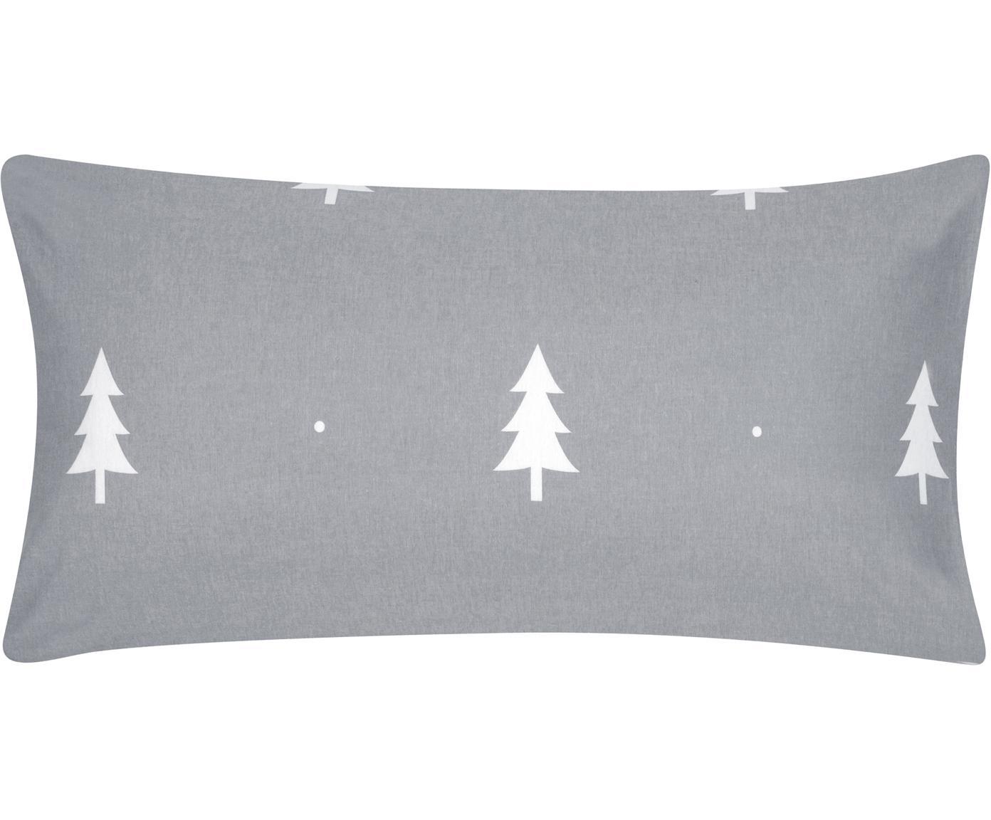 Poszewka na poduszkę z flaneli Nordic, 2 szt., Ciemny szary, kremowobiały, S 40 x D 80 cm