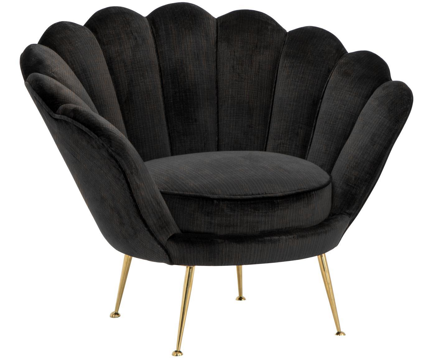 Fluwelen fauteuil Trapezium, Bekleding: 70% viscose, 30% polyeste, Poten: gecoat metaal, Zwart, messingkleurig, B 97 x D 79 cm