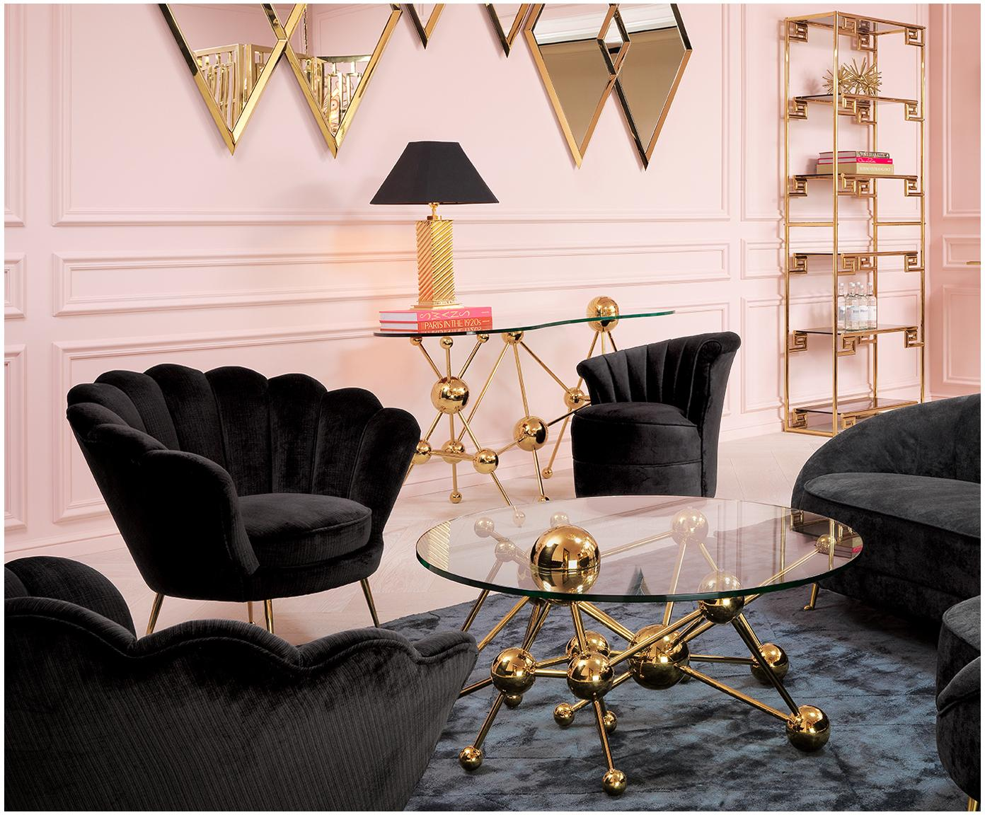 Samt-Sessel Trapezium in Schwarz, Bezug: 70% Viskose, 30% Polyeste, Füße: Metall, beschichtet, Samt Schwarz, B 97 x T 79 cm