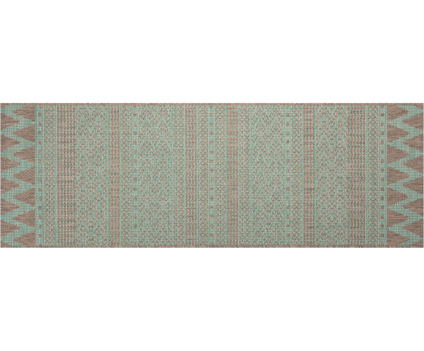 In- en outdoor loper Sidon met grafisch patroon, Polypropyleen, Groen, taupe, 70 x 200 cm