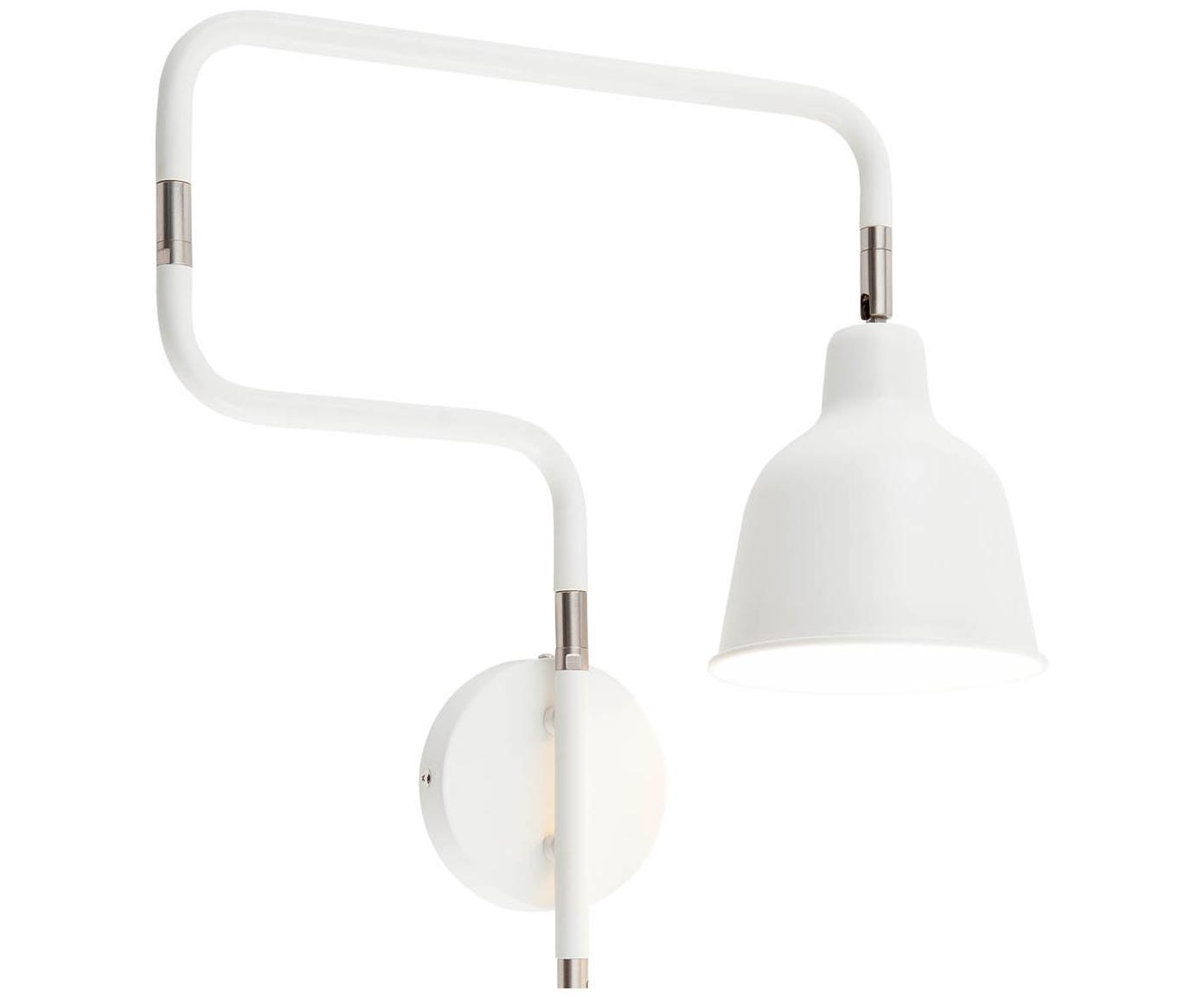 Aplique Multi, con enchufe, Lámpara: metal pintado, Cable: cubierto en tela, Blanco, An 63 x Al 40 cm